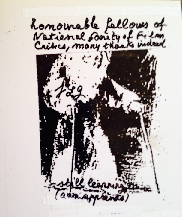 Jean Luc Godard thank you note 607