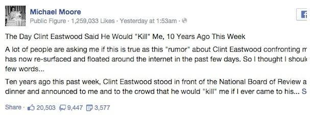 michael moore post on Eastwood