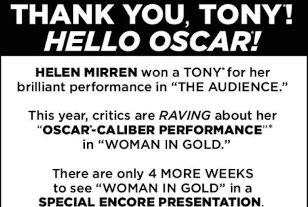 Helen Mirren Oscar Campaign Woman in Gold